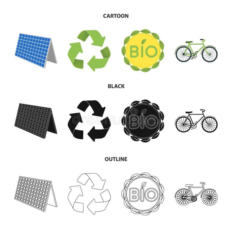 Życiorys etykietka, eco rower, panel słoneczny, przetwarza znaka Życiorys i ekologia ustalone inkasowe ikony w kreskówce, czerń,  ilustracji