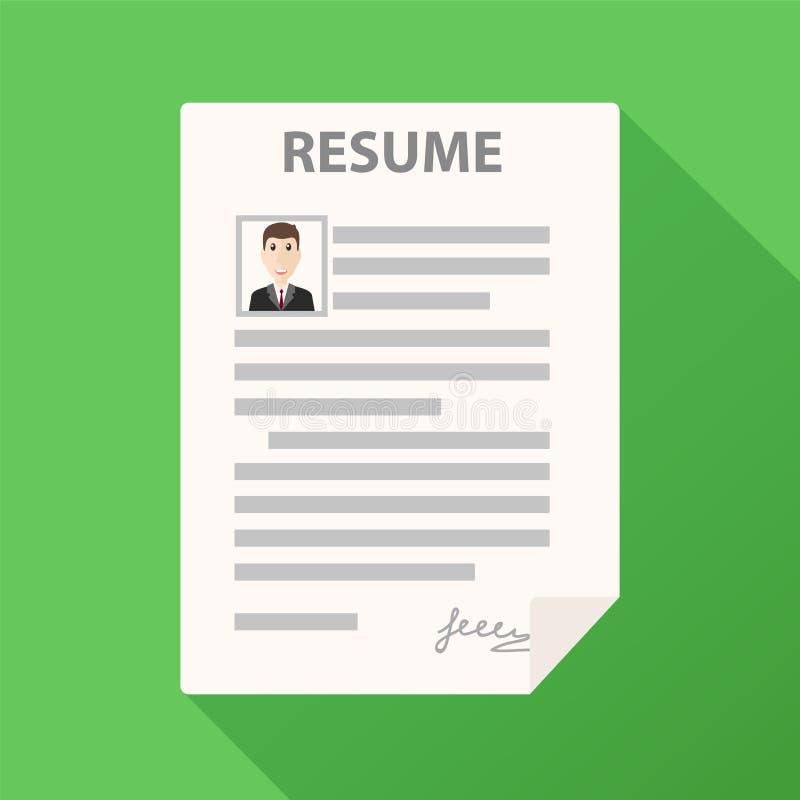 Życiorys formularzowa ikona na zielonym tle z długim cieniem, cv applic ilustracja wektor