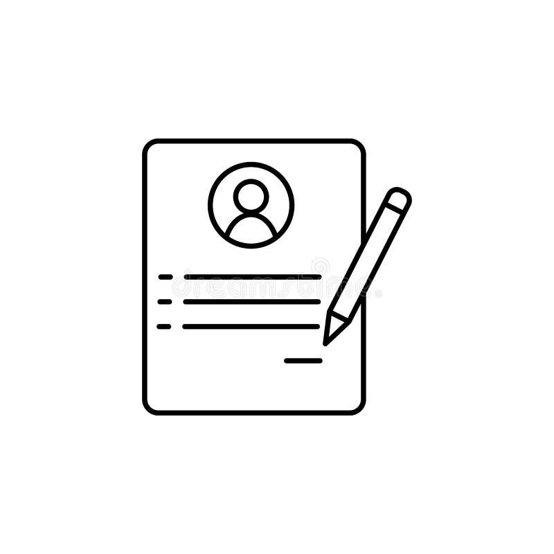 życiorys pracownik Element akcydensowego wywiadu ikona dla mobilnych pojęcia i sieci apps Cienki kreskowy życiorys pracownik może ilustracja wektor
