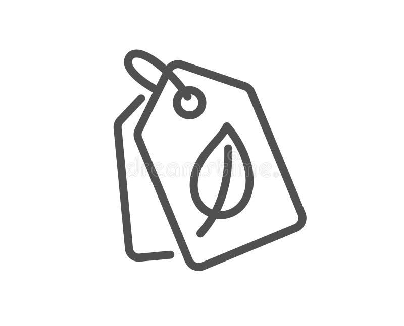 Życiorys zakupy etykietek linii ikona liścia znak wektor ilustracji