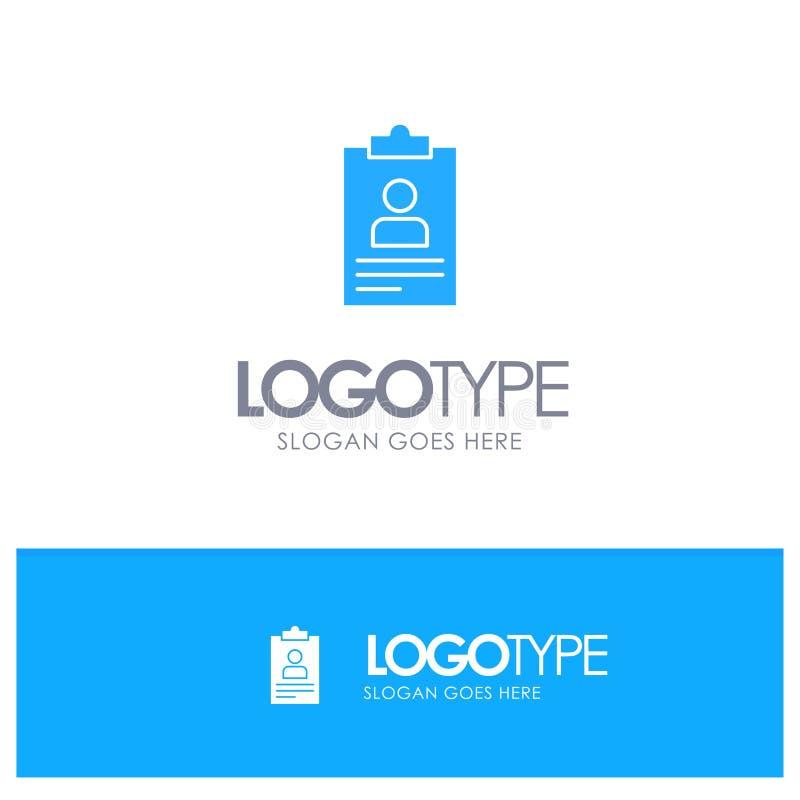 Życiorys, zastosowanie, schowek, program nauczania, Cv Błękitny Stały logo z miejscem dla tagline royalty ilustracja