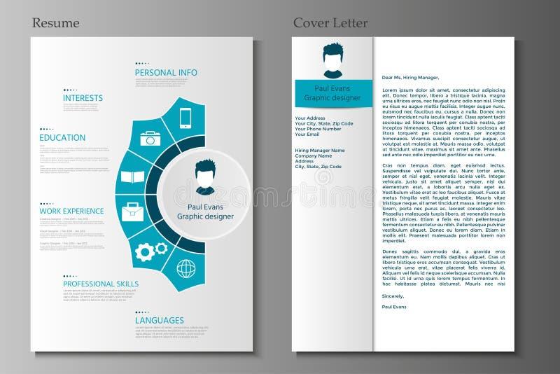 Życiorysu i Okładkowego listu kolekcja Nowożytny CV ustawiający z Infograp royalty ilustracja