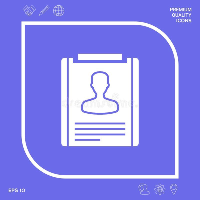 Życiorysu symbolu ikona Graficzni elementy dla twój projekta ilustracja wektor