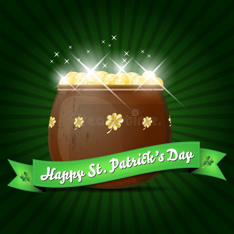 Życzenia na St. Patricks Dzień z garnkiem złoto ilustracji