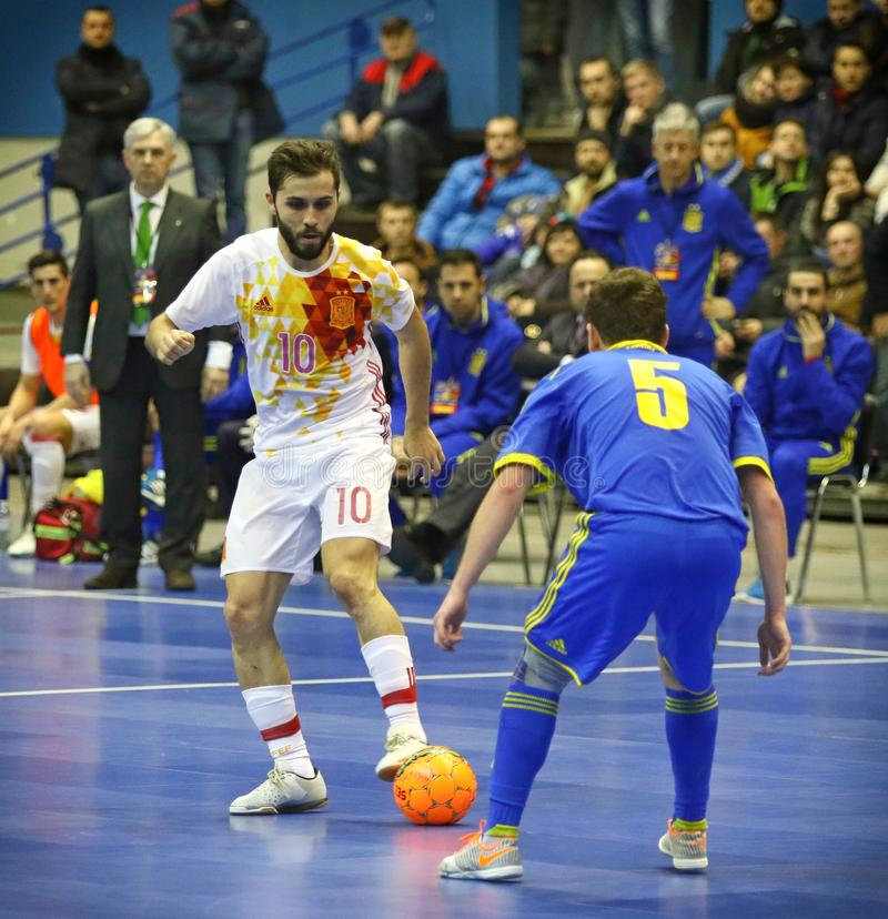 Życzliwa Futsal gra: Ukraina v Hiszpania w Kyiv, Ukraina obraz stock