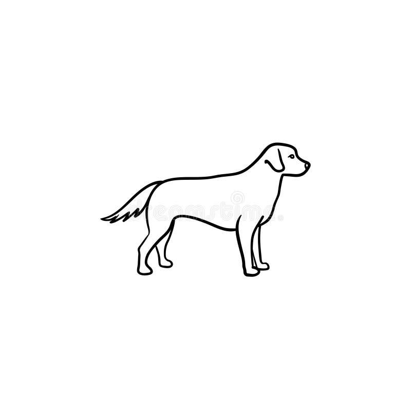 Życzliwa psia ręka rysująca konturu doodle ikona ilustracji