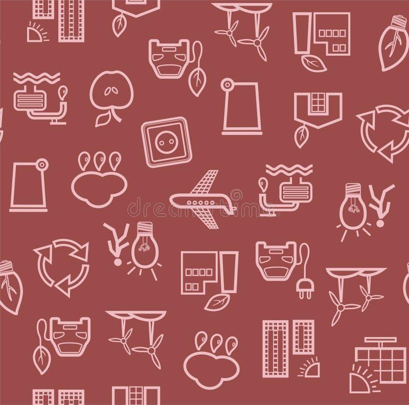Życzliwa technologia, bezszwowy wzór, zmrok - czerwień, konturowy rysunek, kolor, wektor royalty ilustracja
