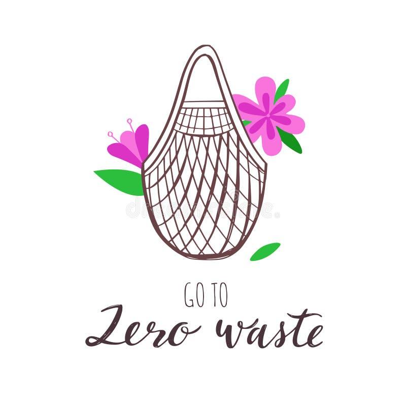 Życzliwa tekstylna torba na zakupy wektorowa ręka rysująca konceptualna ilustracja Zero eco i odpady ilustracja wektor