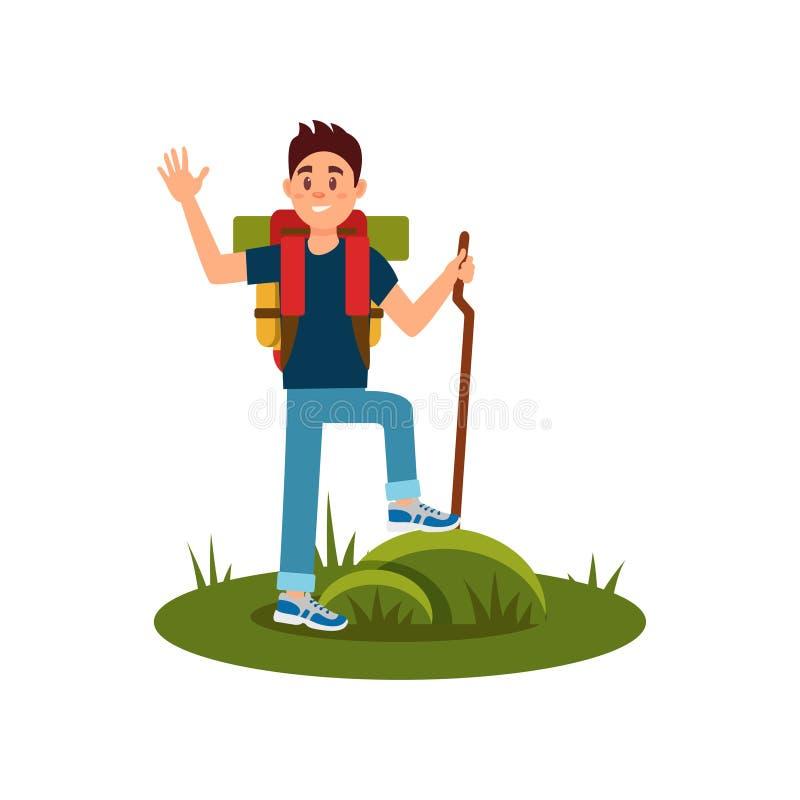 Życzliwa turystyczna falowanie ręka Młody facet z drewnianym kijem i plecakiem Wycieczkowicz pozycja na trawie działalność plener ilustracja wektor