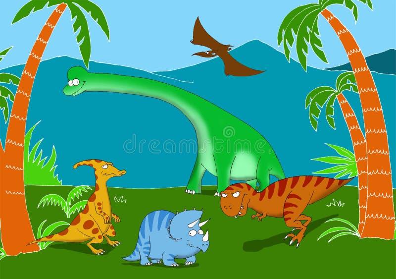 Życzliwi i uśmiechnięci dinosaury w prehistorycznym krajobrazie ilustracja wektor