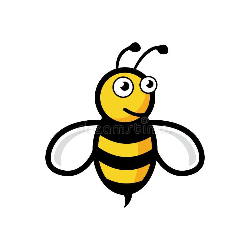 Życzliwy Śliczny pszczoły latanie eps10 i Uśmiechnięty wektor Pszczoła logo ilustracja wektor