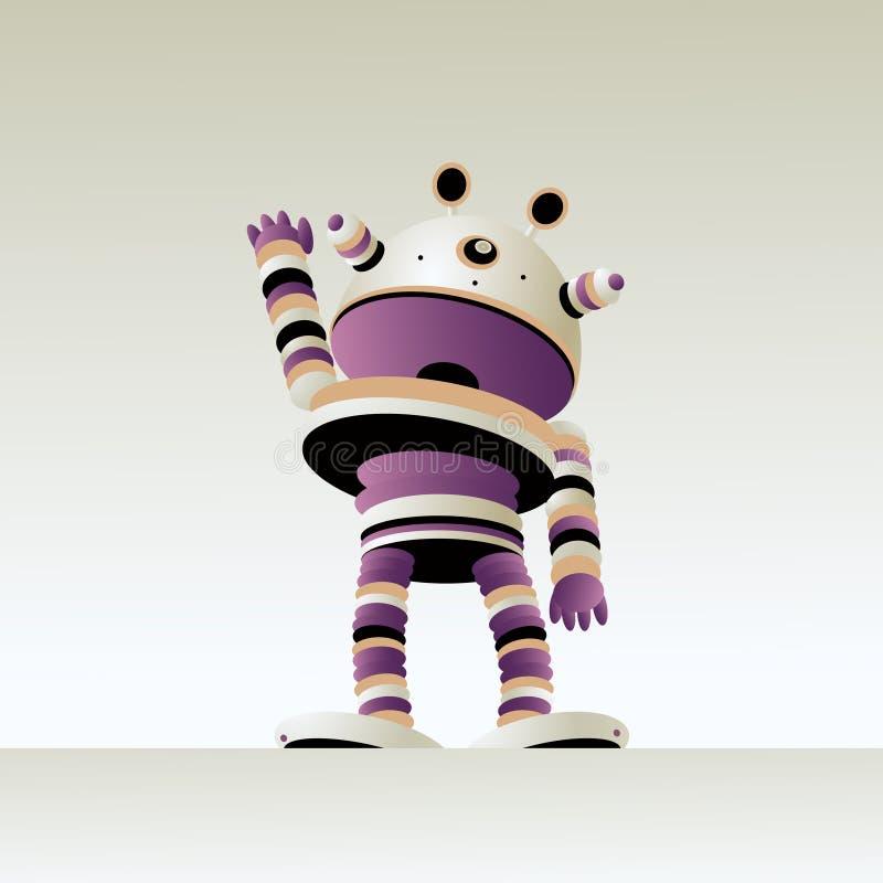 Życzliwy śliczny robot macha w powitaniu royalty ilustracja