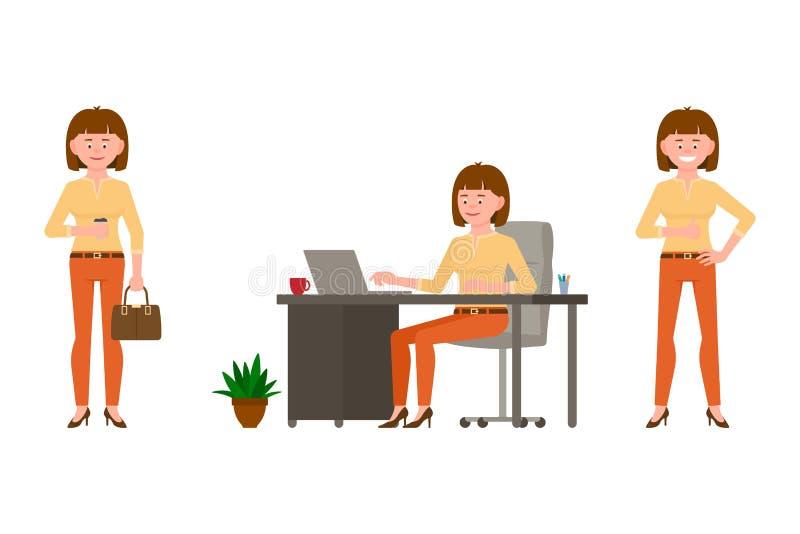 Życzliwy, brąz kobiety wektoru włosiana młoda biurowa ilustracja Stojący z kawą, pisać na maszynie laptop, siedzi przy biurko dzi ilustracja wektor
