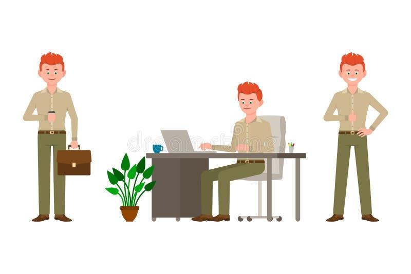 Życzliwy czerwony włosiany młody biurowy mężczyzna w zieleni, ono uśmiecha się, dyszy wektorową ilustrację ilustracji