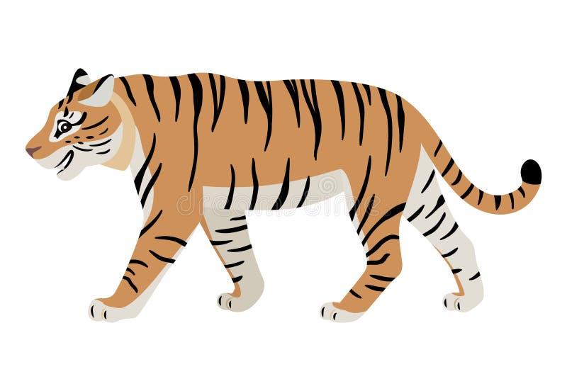 Życzliwy drapieżczy zwierzę, śliczna chodząca tygrysia ikona royalty ilustracja