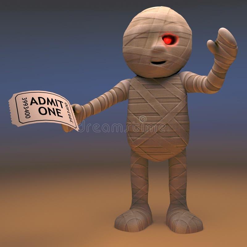 Życzliwy Egipski mamusia potwór iść przedstawienie z swój biletem, 3d ilustracja ilustracji