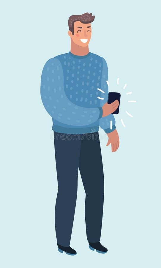 Życzliwy młody facet w przypadkowych ubraniach, trzyma telefon komórkowego ilustracji