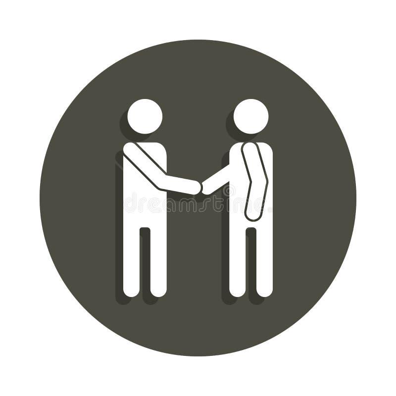 Życzliwy uścisk dłoni dwa sylwetek ikona w odznaka stylu Jeden piktogram inkasowa ikona może używać dla UI, UX ilustracja wektor