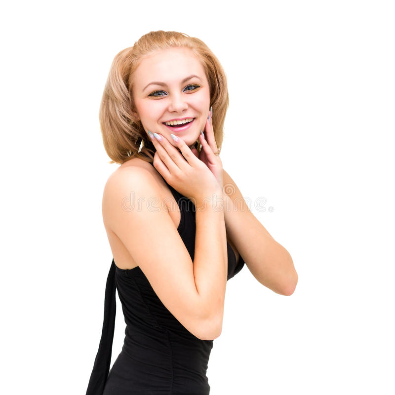 Życzliwy uśmiechnięty młoda kobieta portret fotografia royalty free
