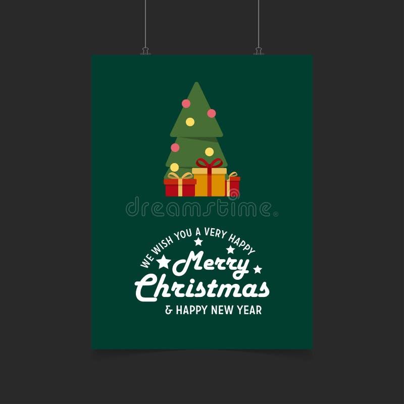 życzymy wam Bardzo Szczęśliwych Wesoło boże narodzenia i Szczęśliwego nowego roku prezenta pudełka tło ilustracji
