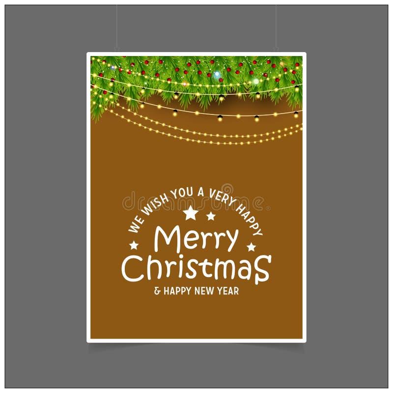 Życzymy wam Bardzo Szczęśliwych Wesoło boże narodzenia i Szczęśliwy nowy rok Zaświeca tło ilustracja wektor