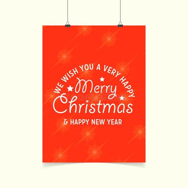 życzymy wam Bardzo Szczęśliwych Wesoło bożych narodzeń i Szczęśliwego nowego roku tło Rozjarzony Pomarańczowy plakat ilustracja wektor