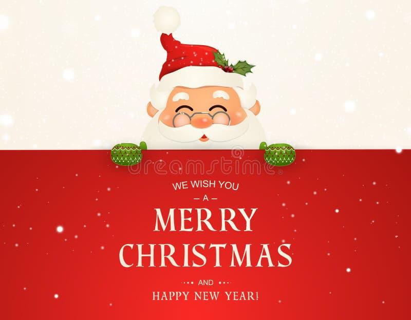 Życzymy wam wesoło boże narodzenia szczęśliwego nowego roku, Święty Mikołaj charakter z dużym signboard Wesoło Santa klauzula z d royalty ilustracja