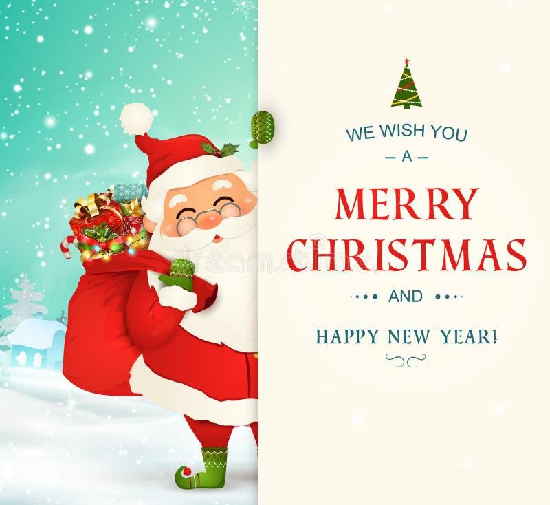 Życzymy wam wesoło boże narodzenia szczęśliwego nowego roku, Święty Mikołaj charakter z dużym signboard Santa klauzula z prezent  ilustracja wektor
