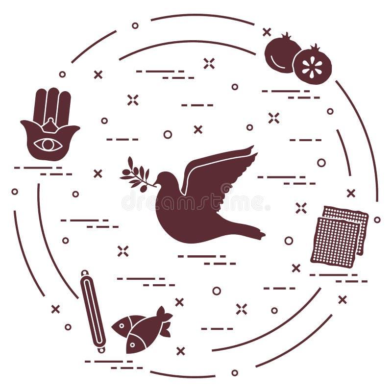 Żydowscy symbole: gołąbka, gałązka oliwna, granatowiec, matzah, ryba, h ilustracja wektor