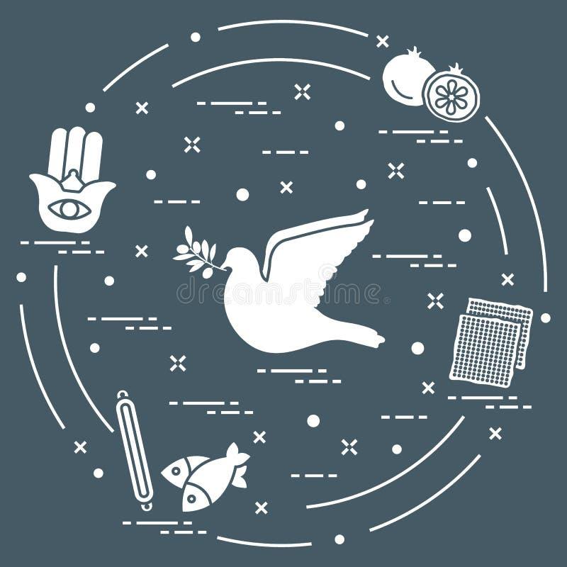 Żydowscy symbole: gołąbka, gałązka oliwna, granatowiec, matzah, ryba, h ilustracji