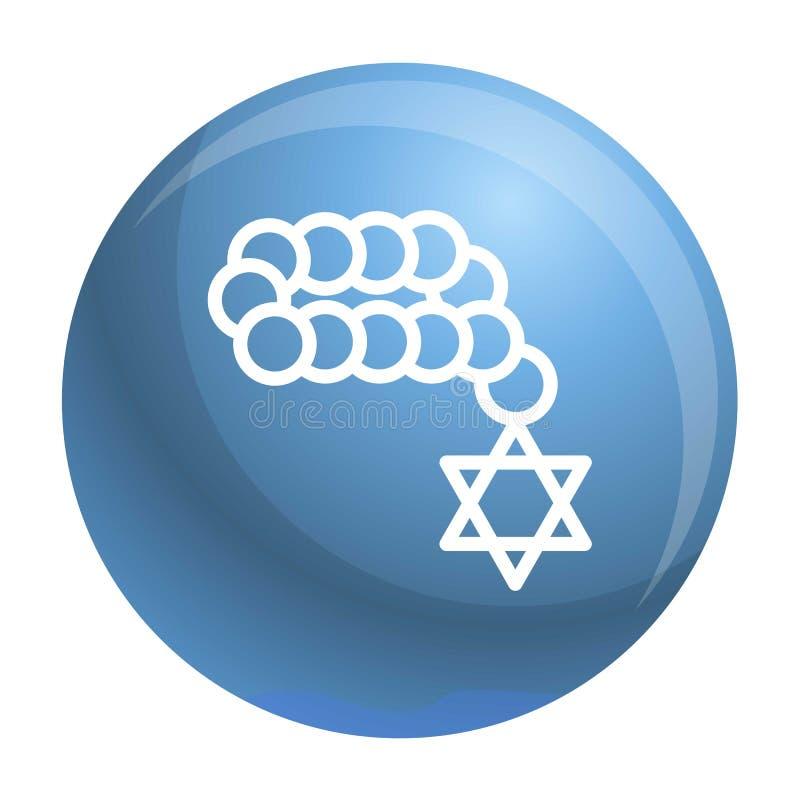 Żydowska koralik ikona, konturu styl ilustracja wektor