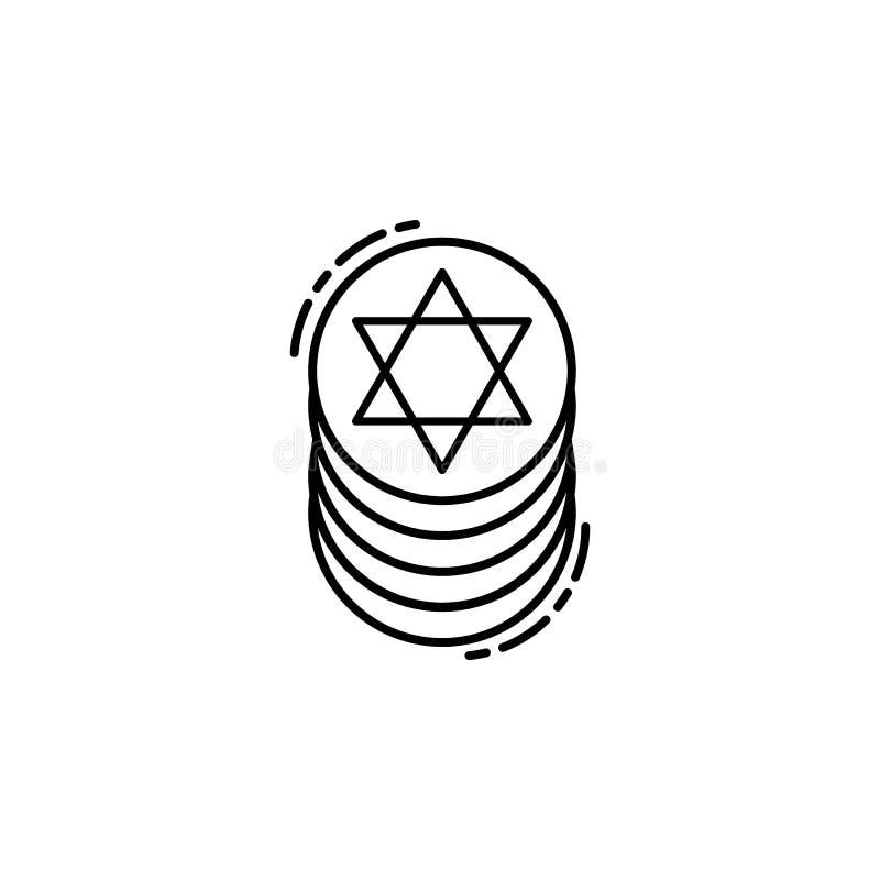 Żydowska monety ikona Element Żydowska ikona dla mobilnych pojęcia i sieci apps Cienka kreskowa Żydowska monety ikona może używać ilustracji