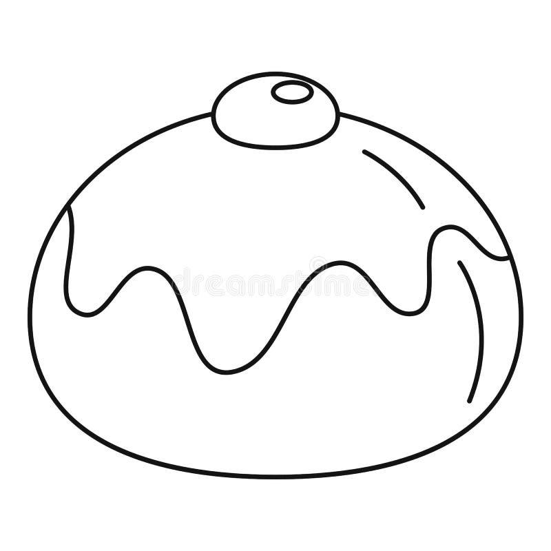 Żydowska słodka piekarni ikona, konturu styl ilustracji