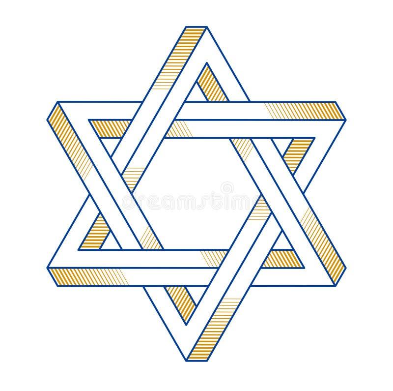 Żydowski heksagonalny gwiazdowy święty geometrii religii symbol tworzył od dwuwymiarowych trójboków niemożliwych kształtów, wekto ilustracja wektor