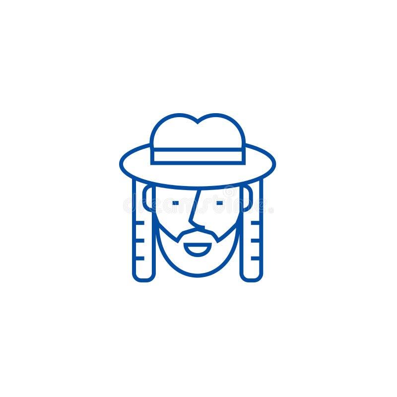 Żydowski kreskowy ikony pojęcie Żydowski płaski wektorowy symbol, znak, kontur ilustracja ilustracji