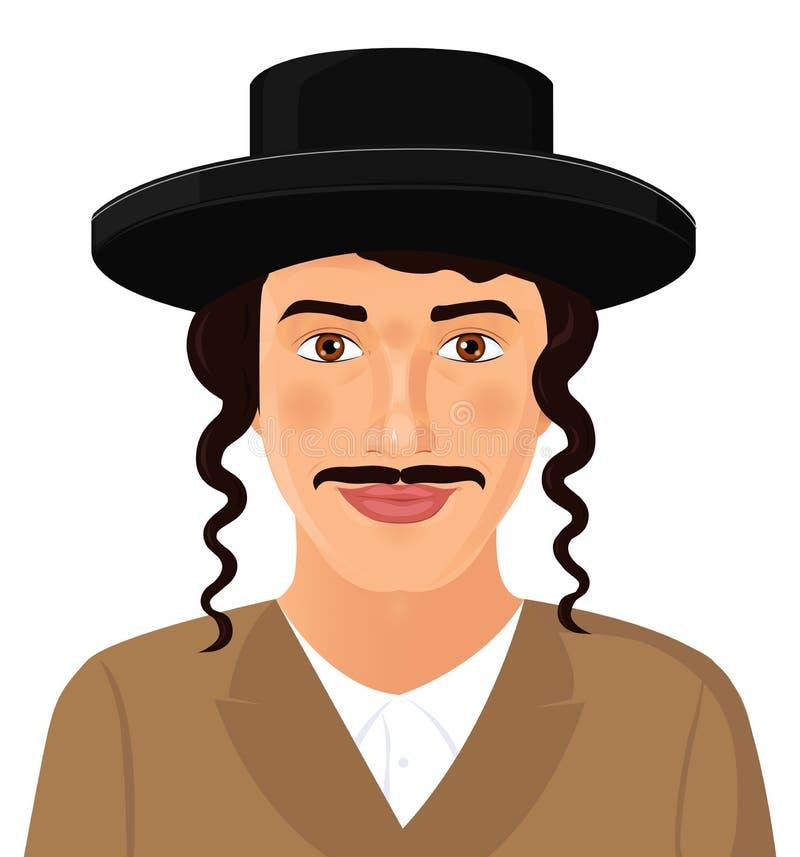 Żydowski mężczyzna twarzy portret z kapeluszem i wąsy w czarnym kostiumu ilustracja wektor
