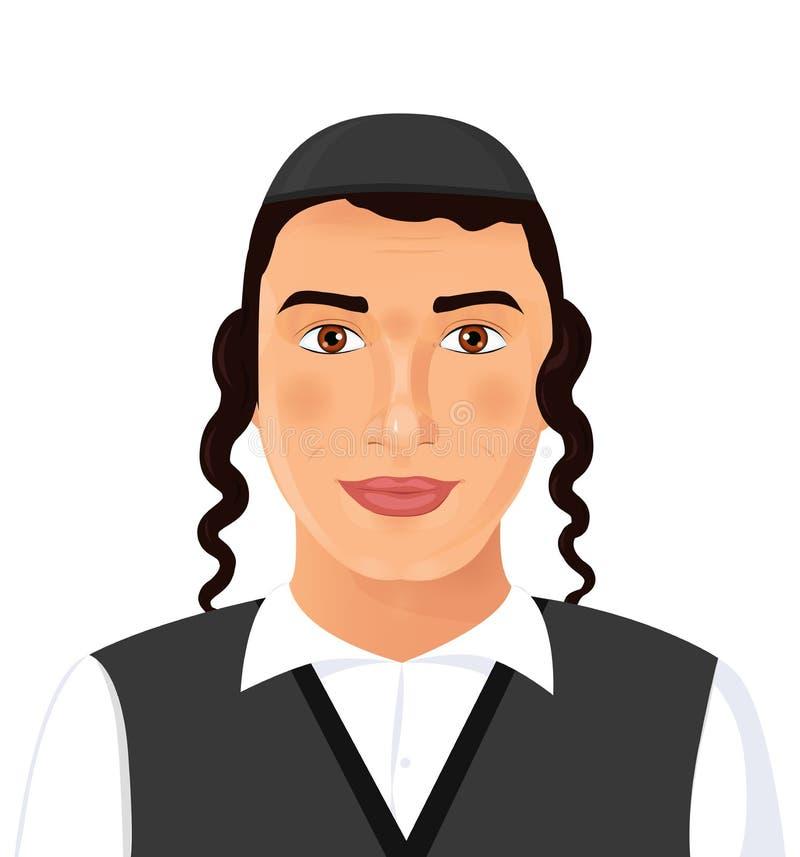 Żydowski młody człowiek twarzy portret z kapeluszem w czarnym kostiumu Jerusal ilustracja wektor