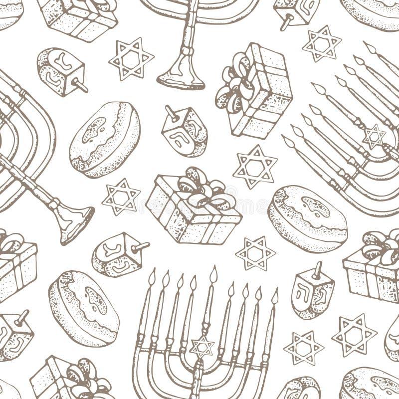 Żydowski wakacyjny Hanukkah bezszwowy wzór Set tradycyjni Chanukah symbole odizolowywający na bielu - dreidels, cukierki