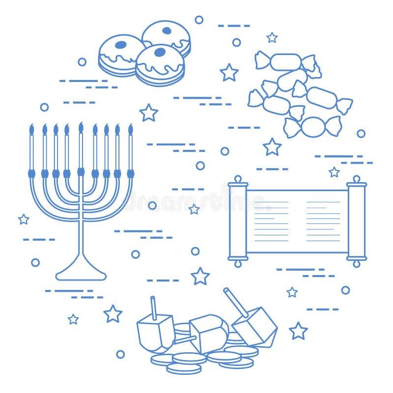 Żydowski wakacyjny Hanukkah: dreidel, sivivon, menorah, monety, donuts i inny, royalty ilustracja