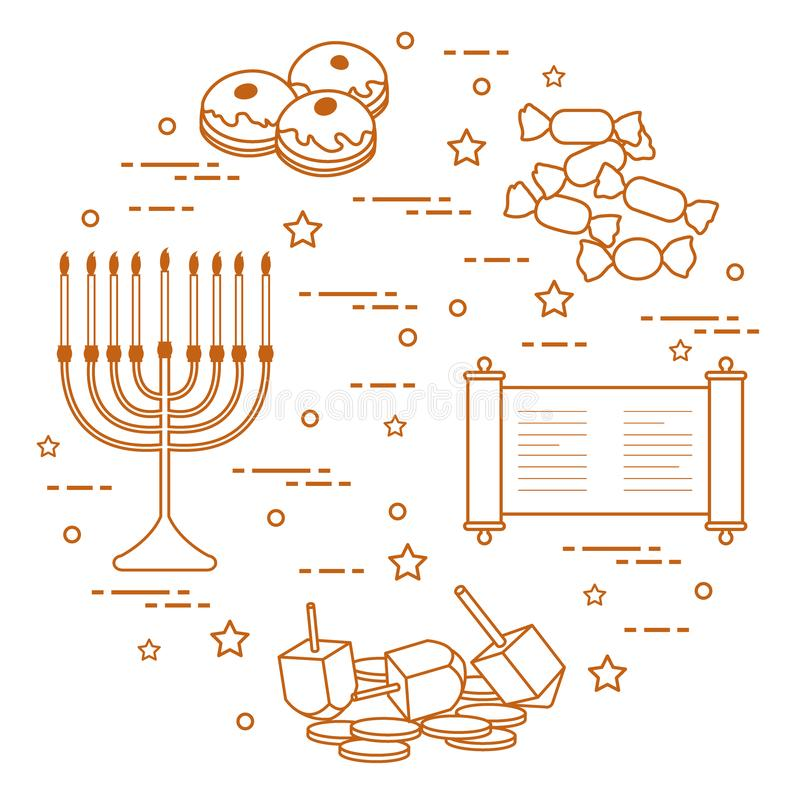 Żydowski wakacyjny Hanukkah: dreidel, sivivon, menorah, monety, donuts i inny, ilustracji