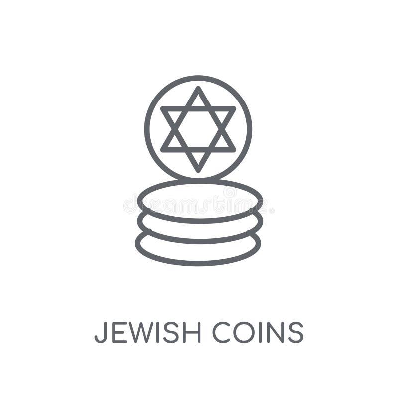 Żydowskich monet liniowa ikona Nowożytnego konturu monet logo Żydowski conce ilustracji