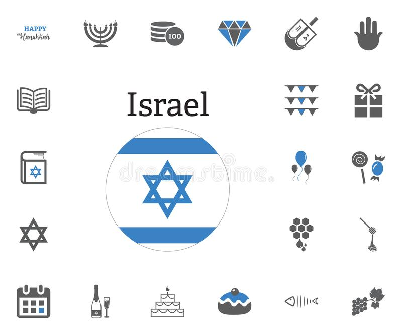Żydowskie Wakacyjne Hanukkah ikony ustawiać również zwrócić corel ilustracji wektora ilustracja wektor