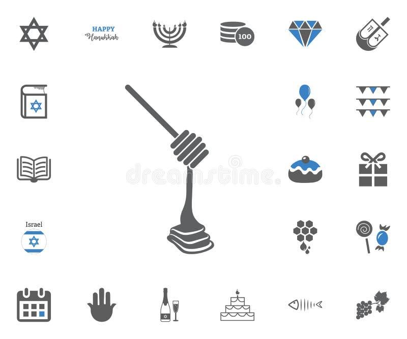 Żydowskie Wakacyjne Hanukkah ikony ustawiać również zwrócić corel ilustracji wektora ilustracji