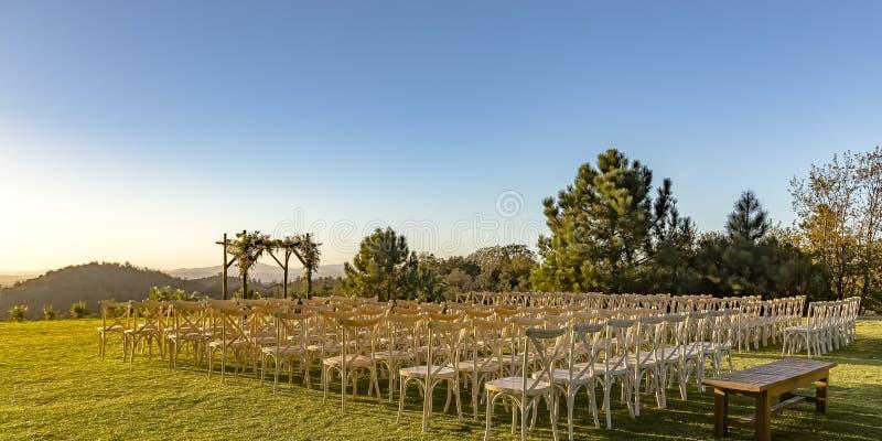 Żydowskiego ślubu ustawianie z pięknym widokiem zdjęcia royalty free
