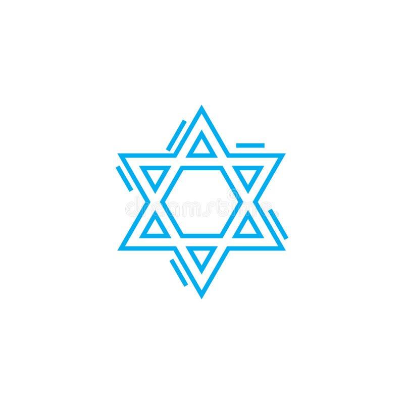 Żydowskiego symbolu ikony liniowy pojęcie Żydowski symbol linii wektoru znak, symbol, ilustracja royalty ilustracja