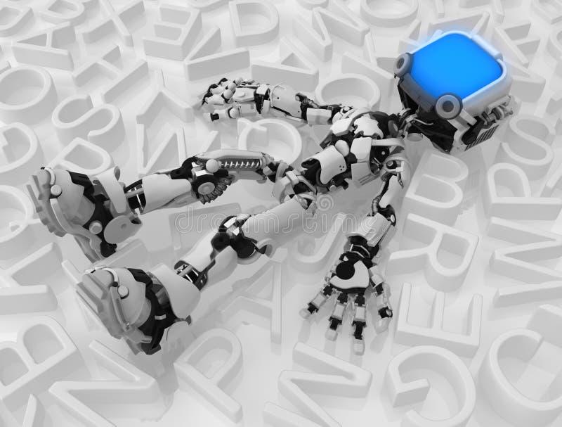 Żyje Parawanowego robot Wśród teksta, ilustracja wektor