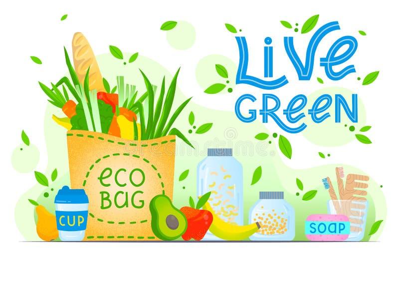 Żyje zieleń - eco pojęcie ilustracja wektor
