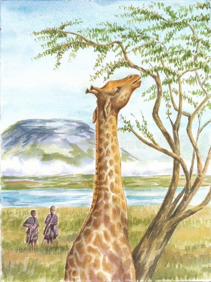 Żyrafa, aborygeny i Kilimangaro, obraz royalty free
