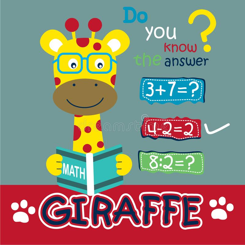 Żyrafa nauczyciel śmieszna kreskówka, wektorowa ilustracja ilustracji