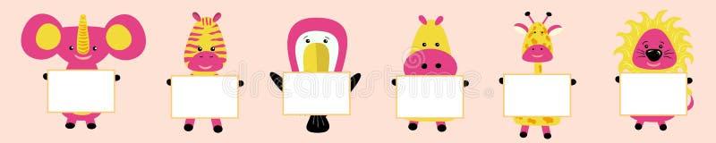 Żyrafa, słoń, pieprzojad, hipopotam, hipopotam, lew, zebra z wizerunkiem głowa R??owi policzki ?liczny posta? z kresk?wki T- ilustracji